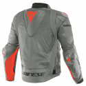 Chaqueta Dainese Super race leather jacket CHARCOAL-GRAY/CH.-GRAY/FLUO-RED